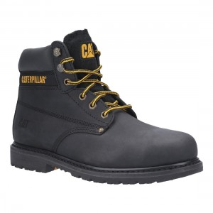 Caterpillar Powerplant Black leather Welted Mens Safety Work Boots