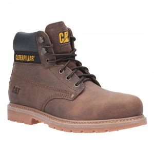 Caterpillar Powerplant Brown leather Welted Mens Safety Work Boots