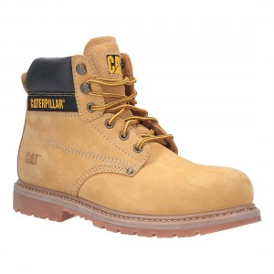 Caterpillar Powerplant Honey Nubuck Welted Mens Safety Work Boots