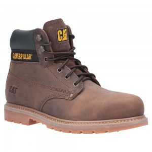Caterpillar Powerplant S3 Welted Brown Leather Mens Safety Boots