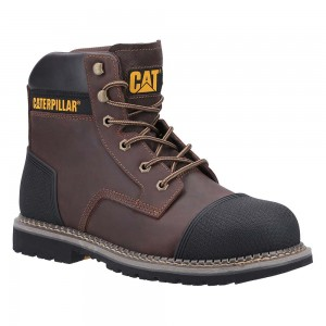Caterpillar Powerplant S3 Crazy Brown Leather Scuff Mens Safety Boots