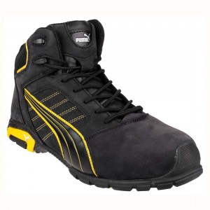 Puma Safety Amsterdam Mid Black Leather S3 SRC Mens Safety Work Boots