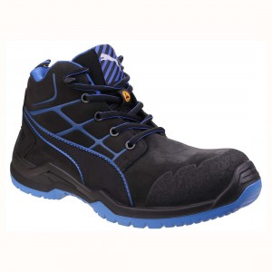 Puma Krypton Black Leather Metal Free S3 ESD Mens Safety Work Boots