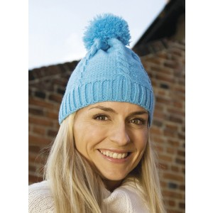Result Winter Cable Knit Pom Pom Beanie