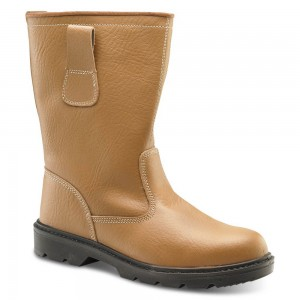 Tan Leather Fur Lined Safety Rigger Boots with Steel Toe and Midsole