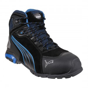 e7465747865a Puma Safety Boots Rio Mid Height Black with Blue Contrast Trainer Boots