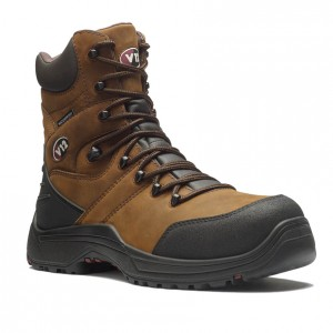 V12 Rocky V1255 High Leg Brown Leather Side Zip Waterproof Safety Boots