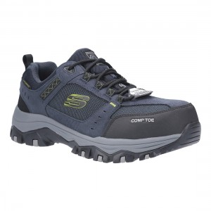 Skechers Greetah Navy Black SK77138EC Mens Safety Work Trainers