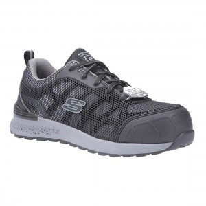 Skechers Bulkin Lyndale Grey Black SK77273EC Ladies Safety Trainers