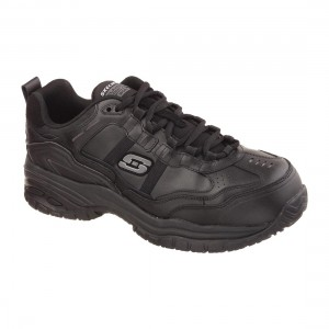 Skechers Soft Stride Black Leather SK77013EC Mens Safety Work Trainers