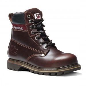 V12 Boulder V1236 Mahogany Leather Goodyear Welted Safety Boots