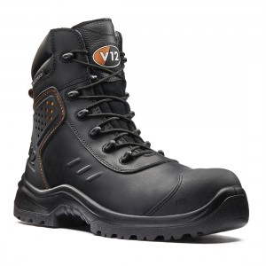 V12 Defender V1750 Waterproof Metal Free S3 Black Leather Safety Boots