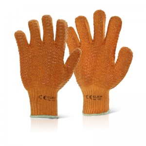 General Purpose Yellow Knitted PVC Criss Cross Grip Handling Work Gloves