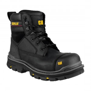 CAT Gravel Black Leather S3 Mens Water Resistant Safety Work Boots