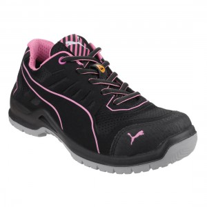 Puma Safety Fuse Technic Black and Pink Womens Safety Work Trainers
