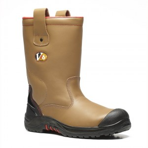 V12 Grizzly VR690 Tan Leather Fleece Lined Safety Rigger Boots