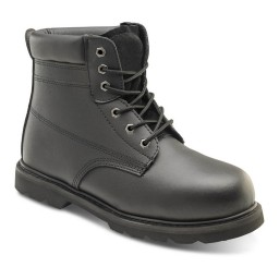 Mens Smooth Black Leather Goodyear Welted Steel Toe Safety Boots
